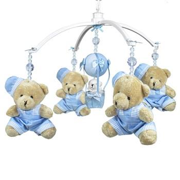 Móbile Musical Ursinho Azul e Balão