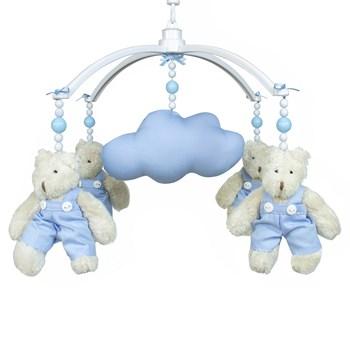 Móbile Musical Ursinho Azul e Nuvem