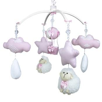 Móbile Ovelha, Nuvens e Balão Rosa- Sem Caixa Musical