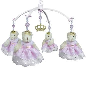 Móbile Ursa Princesa Rosa e Coroa Dourada- Sem Caixa Musical