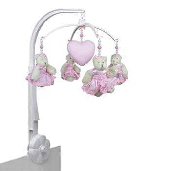 Móbile Ursinha Flores Rosa e Coração- Sem Caixa Musical