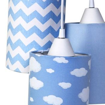 Pendente 3 Tubinhos Nuvem Chevron Azul