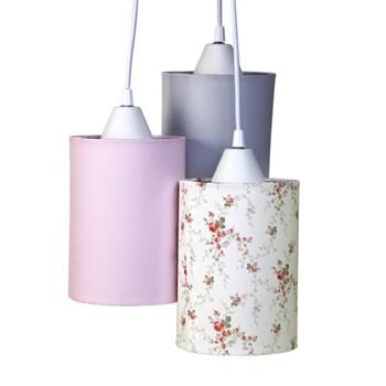 Pendente 3 Tubinhos Rosa Provençal Com Cinza