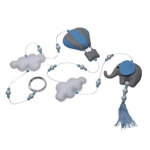 Pingente De Cortina Elefante Balão Azul