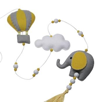 Pingente De Cortina Elefante Balão Cinza