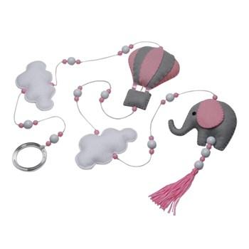 Pingente De Cortina Elefante Balão Rosa