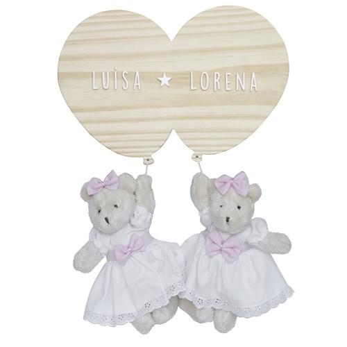 Porta Maternidade Bexigas com Ursinhas Gêmeas
