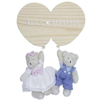 Porta Maternidade Bexigas com Urso e Ursa Gêmeos