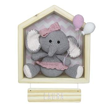 Porta Maternidade Casinha Elefante Menina Crochê
