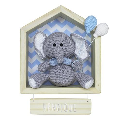 Porta Maternidade Casinha Elefante Menino Crochê