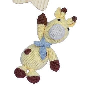 Porta Maternidade Estrela com Girafa de Cachecol Azul