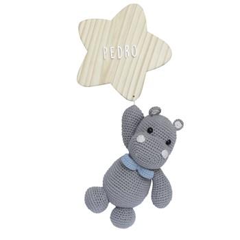 Porta Maternidade Estrela com Hipopótamo de Gravata Azul