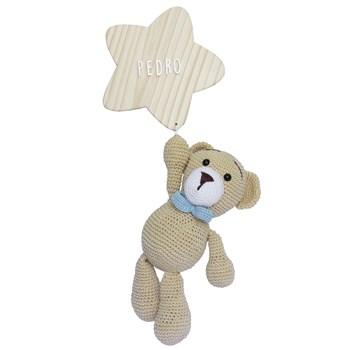 Porta Maternidade Estrela com Urso de Gravata Azul
