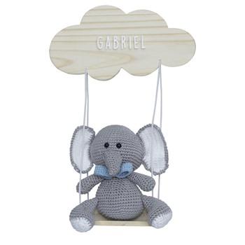 Porta Maternidade Nuvem Balança com Elefante de Gravata Azul