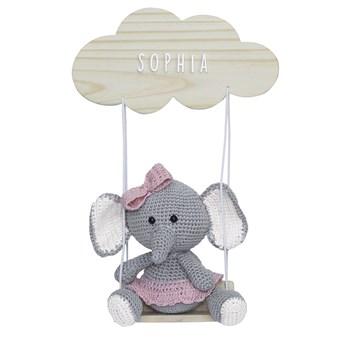 Porta Maternidade Nuvem Balança com Elefante de Laço