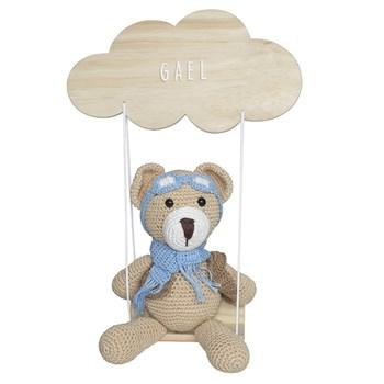 Porta Maternidade Nuvem Balança com Ursinho Aviador