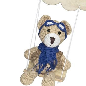 Porta Maternidade Nuvem Balança com Ursinho Aviador Marinho