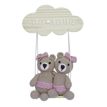 Porta Maternidade Nuvem Balança Ursinhas Gêmeas Crochê