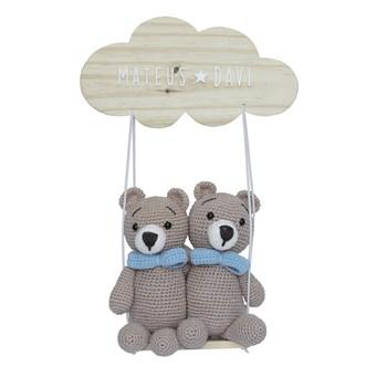 Porta Maternidade Nuvem Balança Ursinhos Gêmeos Crochê