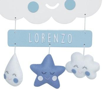 Porta Maternidade Nuvem Chuva de Amor Azul