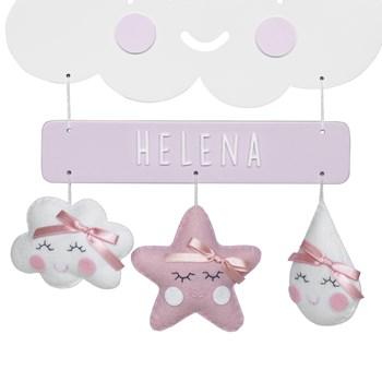 Porta Maternidade Nuvem Chuva de Amor Rosa