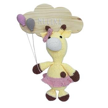 Porta Maternidade Nuvem Girafa de Saia Rosa com Bexigas
