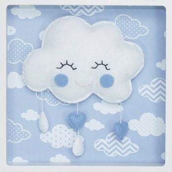 Porta Maternidade Quadro Acrílico Chuva de Amor Azul