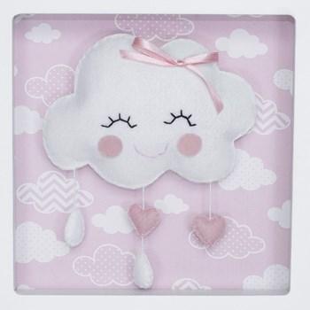 Porta Maternidade Quadro Acrílico Chuva de Amor Rosa