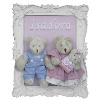 Porta Maternidade Quadro Família Urso com Bebê Menina
