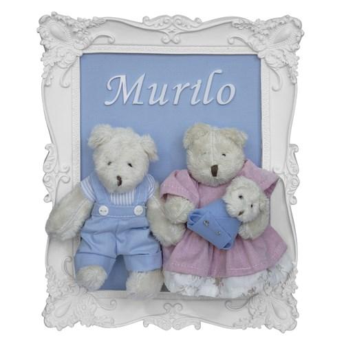 Porta Maternidade Quadro Família Urso com Bebê Menino