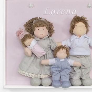 Porta Maternidade Quadro Luz de Led Família Irmão com Bebê Menina