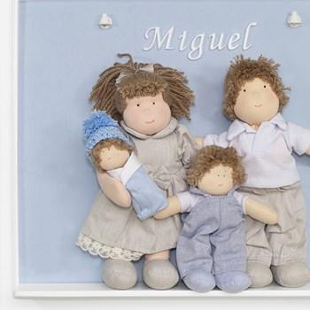 Porta Maternidade Quadro Luz de Led Família Irmão com Bebê Menino