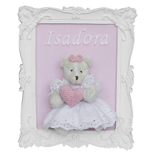 Porta Maternidade Quadro Ursa Vestido e Coração