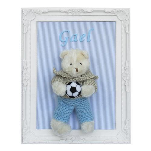 Porta Maternidade Quadro Urso Bege Roupa de Crochê e Bola de Futebol