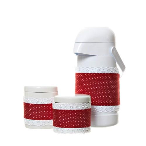 Potes E Garrafa Com Capa Vermelha (Conj. 3 Peças)