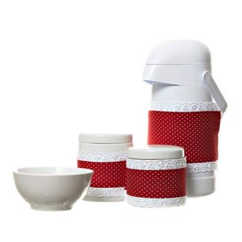 Potes, Garrafa E Molhadeira Com Capa Vermelha (Conj. 4 Peças)