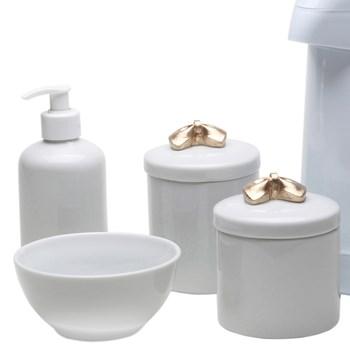 Potes, Garrafa, Molhadeira e Porta Álcool-Gel Lacinho Dourado
