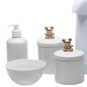 Potes, Garrafa, Molhadeira e Porta Álcool-Gel Ursinho Dourado