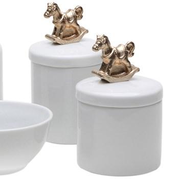 Potes, Molhadeira e Porta Álcool-Gel Cavalinho Dourado