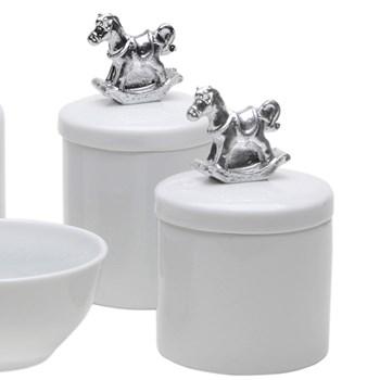 Potes, Molhadeira e Porta Álcool-Gel Cavalinho Prata