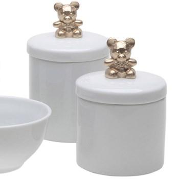 Potes, Molhadeira e Porta Álcool-Gel Ursinho Dourado