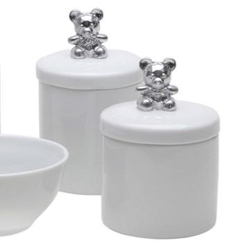 Potes, Molhadeira e Porta Álcool-Gel Ursinho Prata