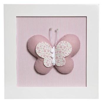 Quadro Decorativo Borboleta Rosa