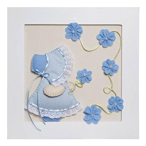 Quadro Decorativo Camponesa Flores Azuis