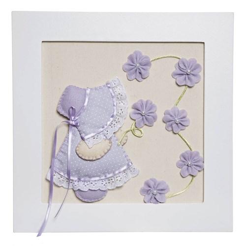 Quadro Decorativo Camponesa Flores Lilás