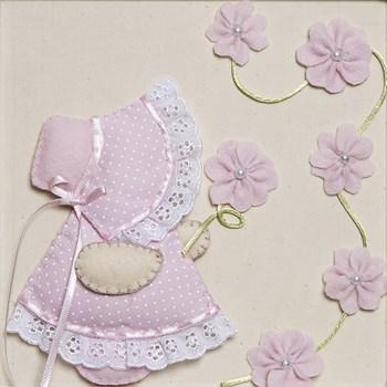 Quadro Decorativo Camponesa Flores Rosa