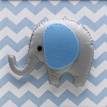 Quadro Decorativo Elefante Chevron Azul