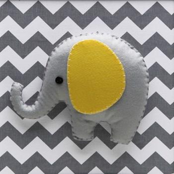 Quadro Decorativo Elefante Chevron Cinza