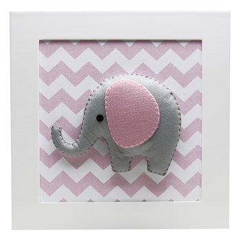 Quadro Decorativo Elefante Chevron Rosa
