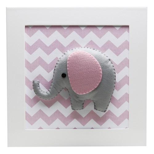 Quadro Decorativo Elefante Chevron Rosa